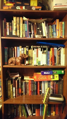 one of our two packed-to-the-brim bookshelves